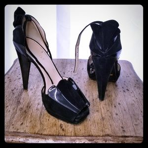 Prada suade and patent leather heels